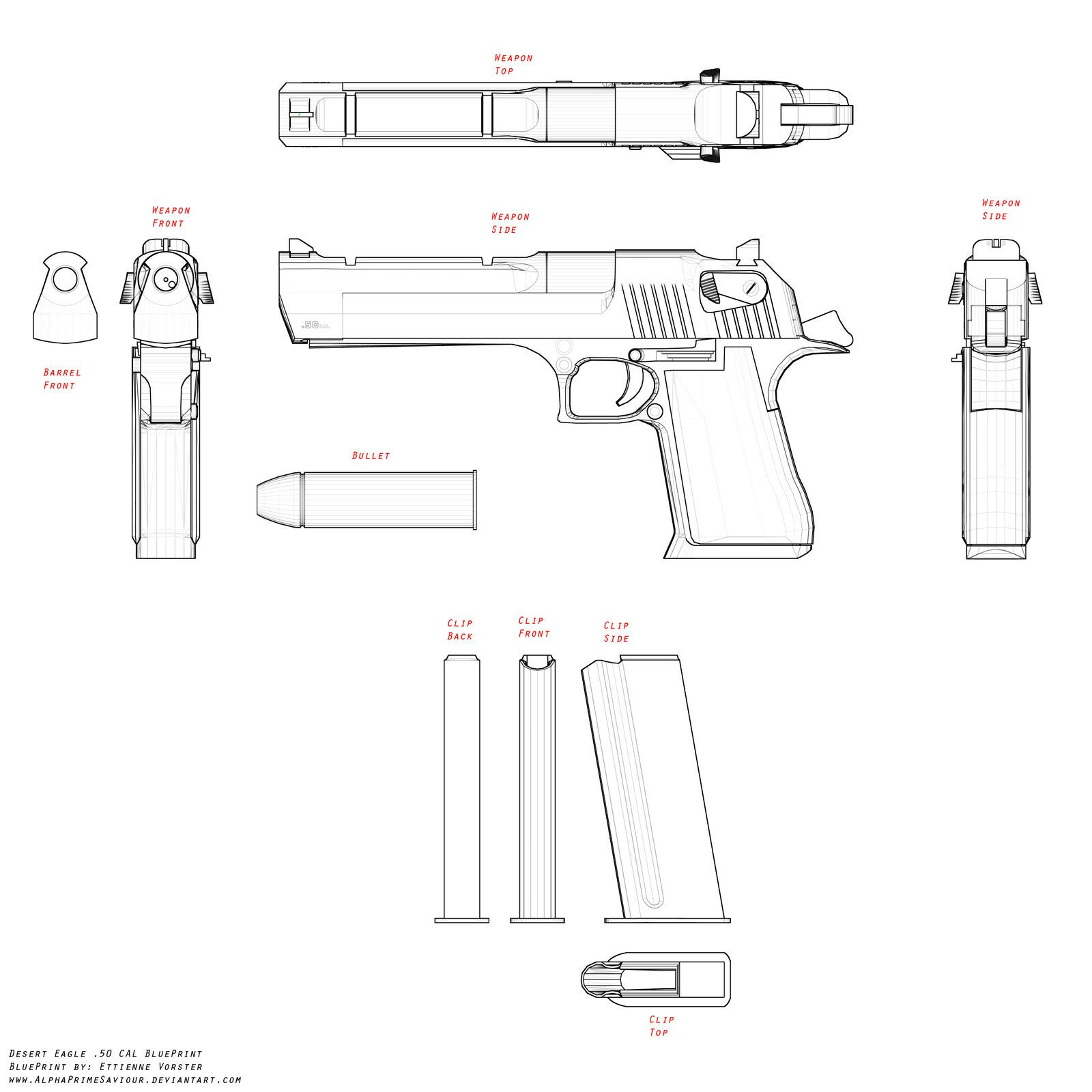 Desert Eagle BluePrint by AlphaPrimeSaviour.deviantart.com