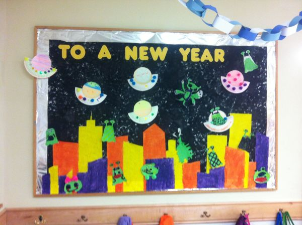 January Year And Space Exploration Bulletin Board