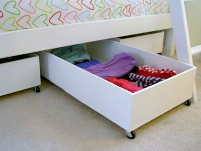 Underbed storage  maybe repurpose old dresser drawers instead of building my own  DIY Tips