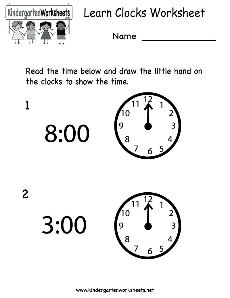 K Derg Rten Le Rn Clocks W Ksheet Pr T Ble Homeschool