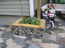 Mosaic Scraps Mortared Cinder-block Planter Box