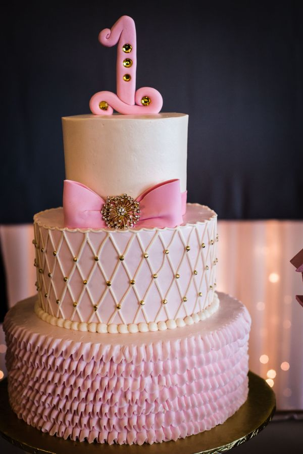 Pink Ribbon With Gold Accent 1st Birthday Cake Eventive