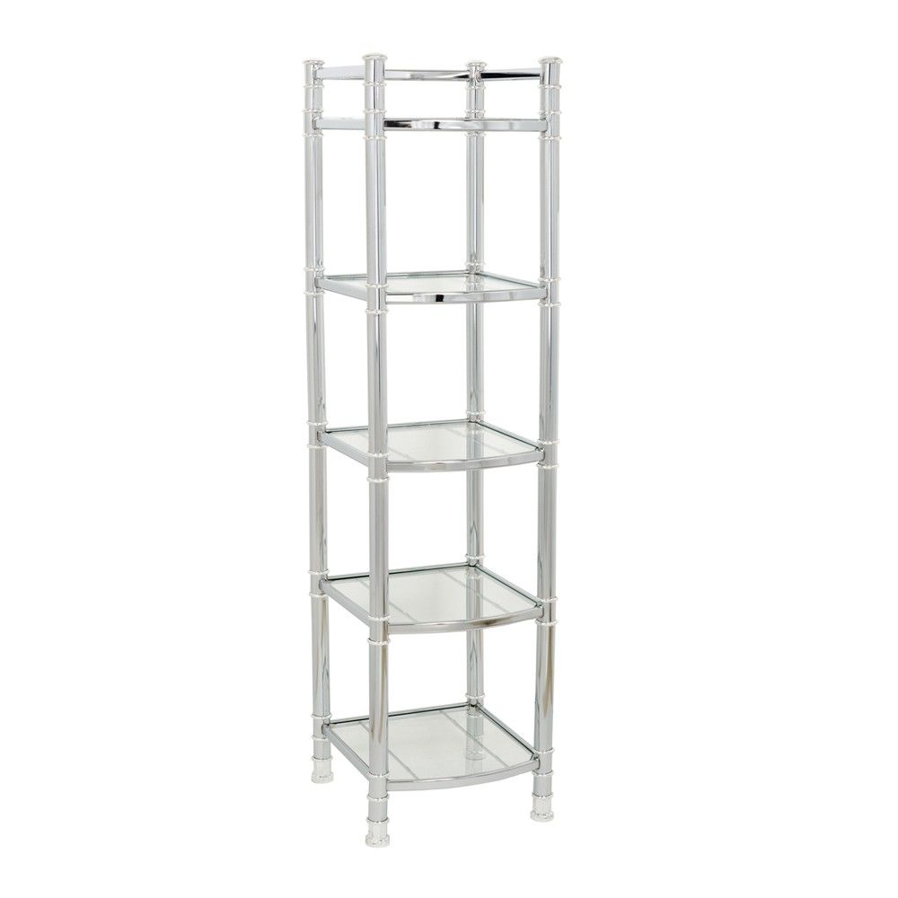 zenna home 9058ss, 5-tier bathroom shelf/linen tower, chrome/glass