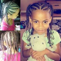 Mixed hair braids, little girl hair style | Braids, beads ...