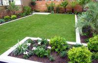 medium sized backyard landscape ideas with grass and ...