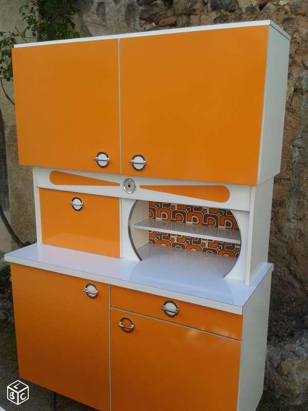 Meuble vintage de cuisine des annes 60 en formica orange  vintage  Pinterest  Cuisine des
