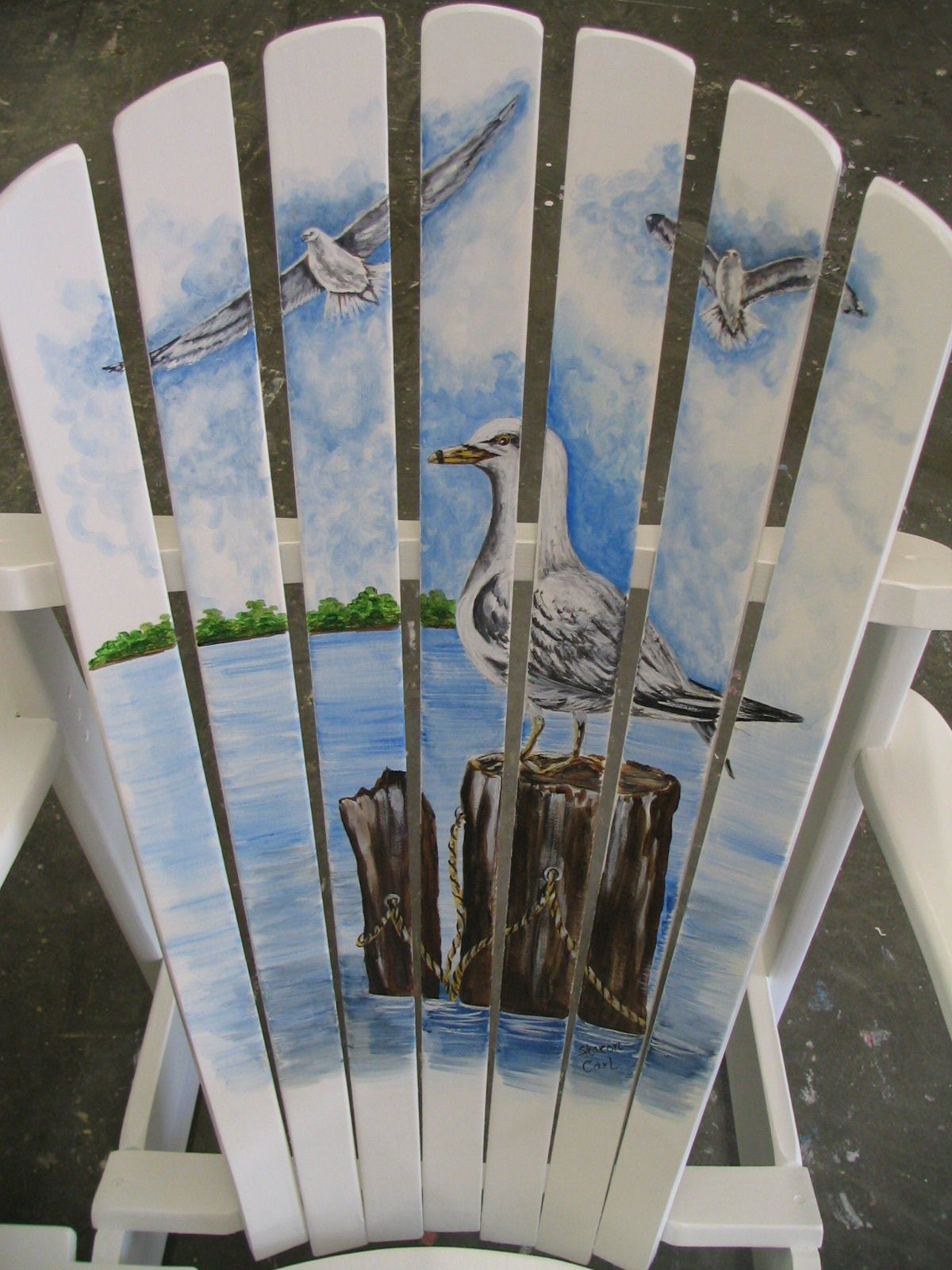 painted adirondack chairs bedroom chair asda with seagulls on a pier the
