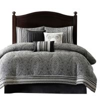 Queen Size 7-Piece Comforter Set in Black White Grey ...