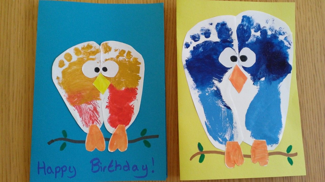 Kids Craft Birds Owls Foot Print Birthday Card Kids