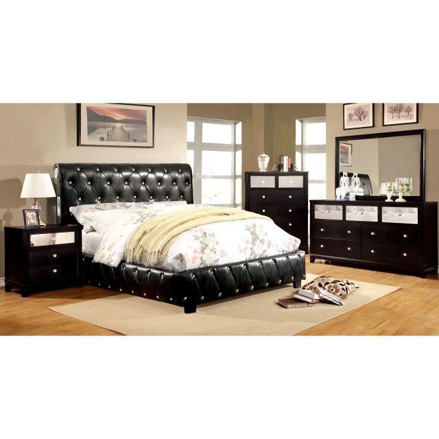 Furniture of America Emmaline Black 4 Piece Bluetooth Bedroom Set