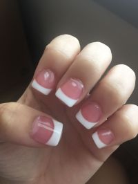 Pink and white acrylic nails French tip short pretty ...