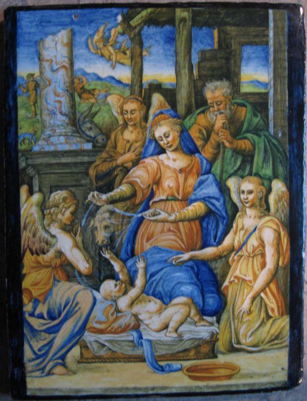 Plaque Urbino Attribu L'atelier 'orazio Fontana Majolica Atelier