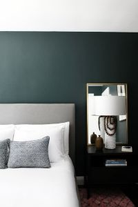Minimalist bedroom with dark green walls - gorgeous ...