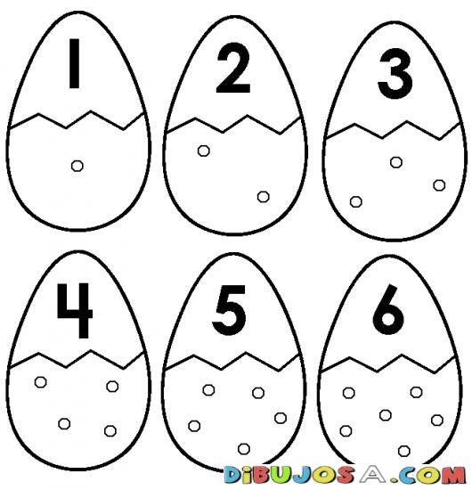 Numero 6 Dibujo De Seis Huevos Para Pintar Y Colorear