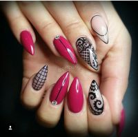 Sivri b6run stiletto gel nail design jel trnak dizayn