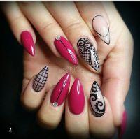 Sivri b6run stiletto gel nail design jel trnak dizayn ...
