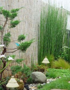 Decorating modern small garden design ideas with fabulous bamboo and unique stand lamp also rh pinterest