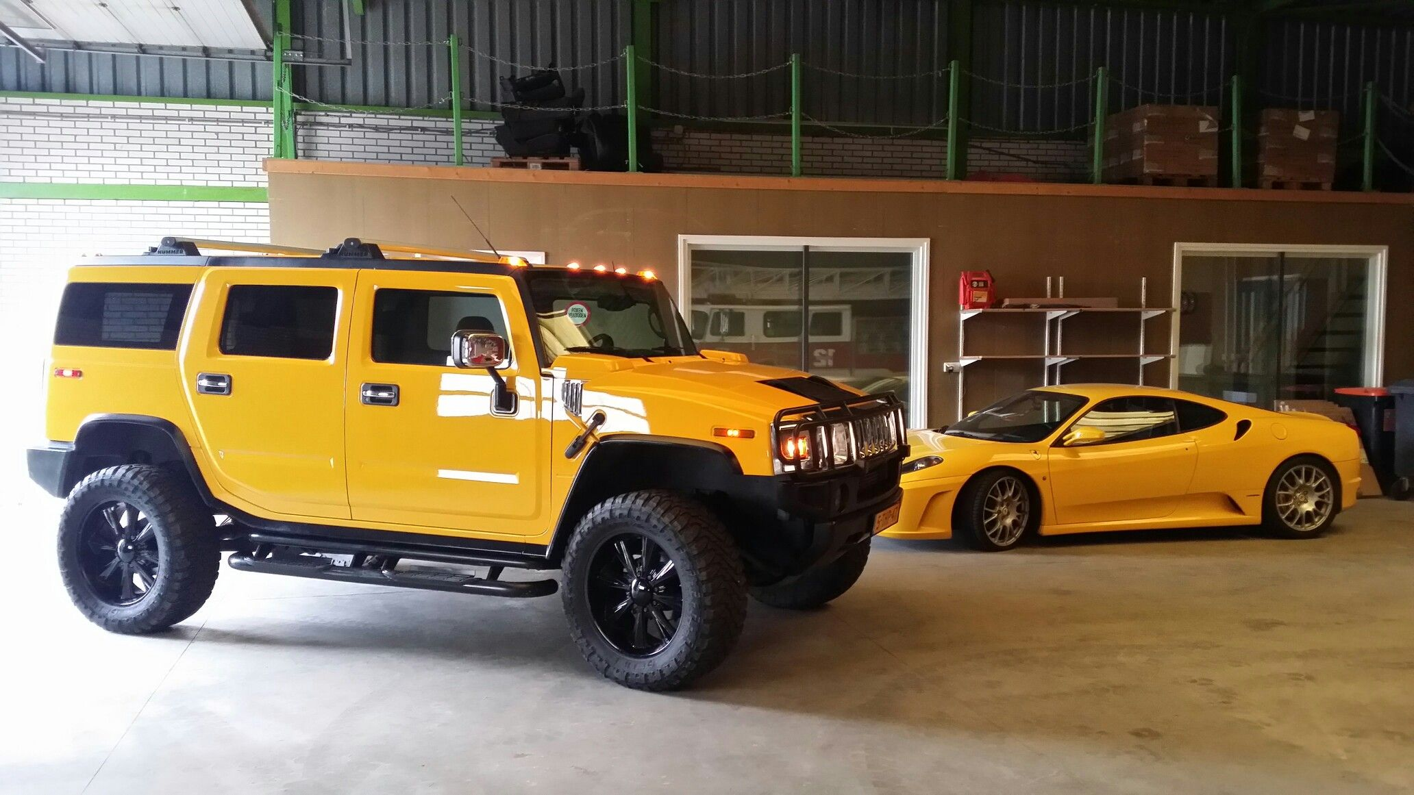 Yellow Ferrari f430 and Hummer H2 Eric Pinterest