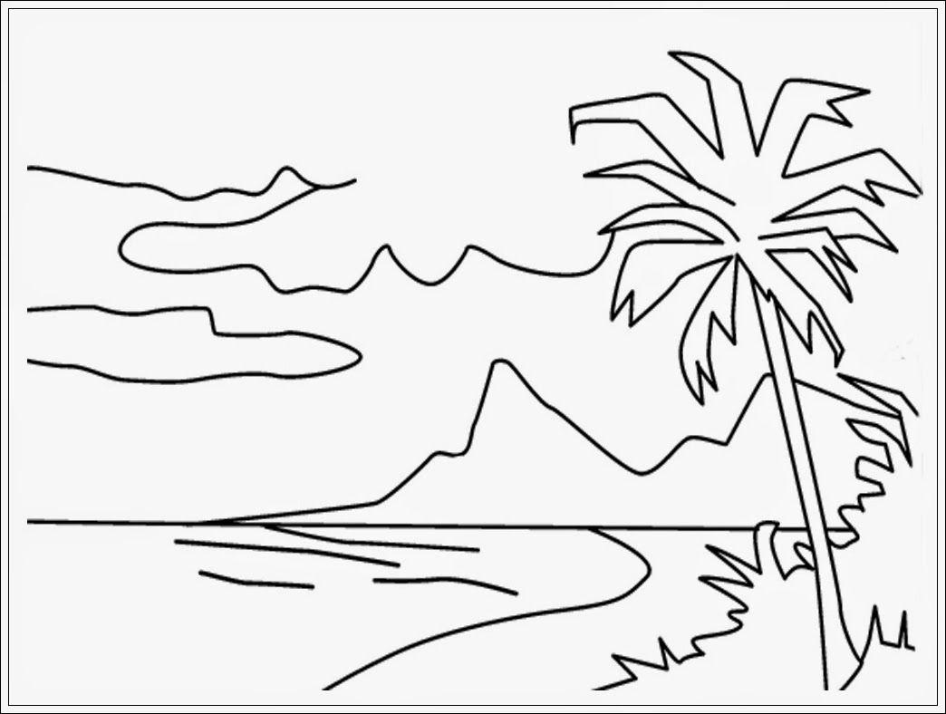 10 Mewarnai Gambar Pemandangan Alam Pantai Auto Electrical Wiring