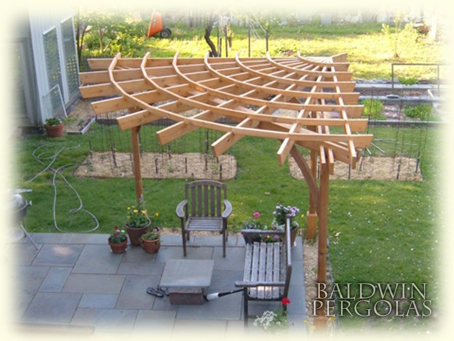 corner pergola pergola which has rafters radiating from one point in the corner