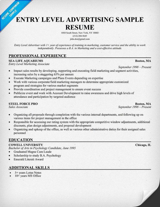Free Entry Level Advertising Resume Example Resumecompanion Com
