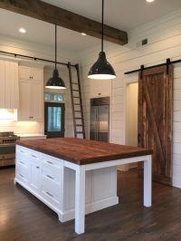 Kitchen Island, lights, barn door, ship lap, beams | Home ...