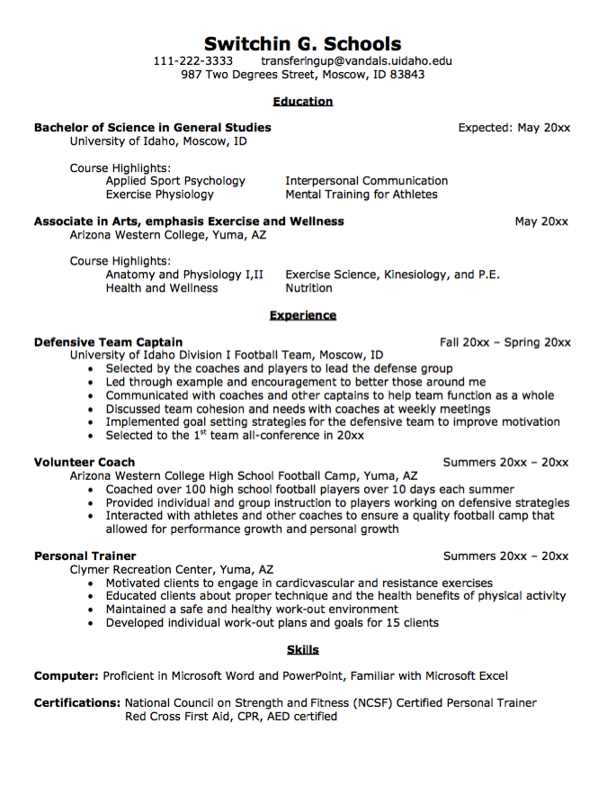 sample resume for undergraduate transfer student