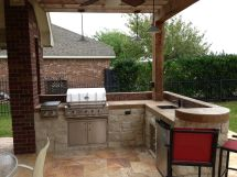 """Small """"l-shape"""" Outdoor Kitchen With Bar Seating"""