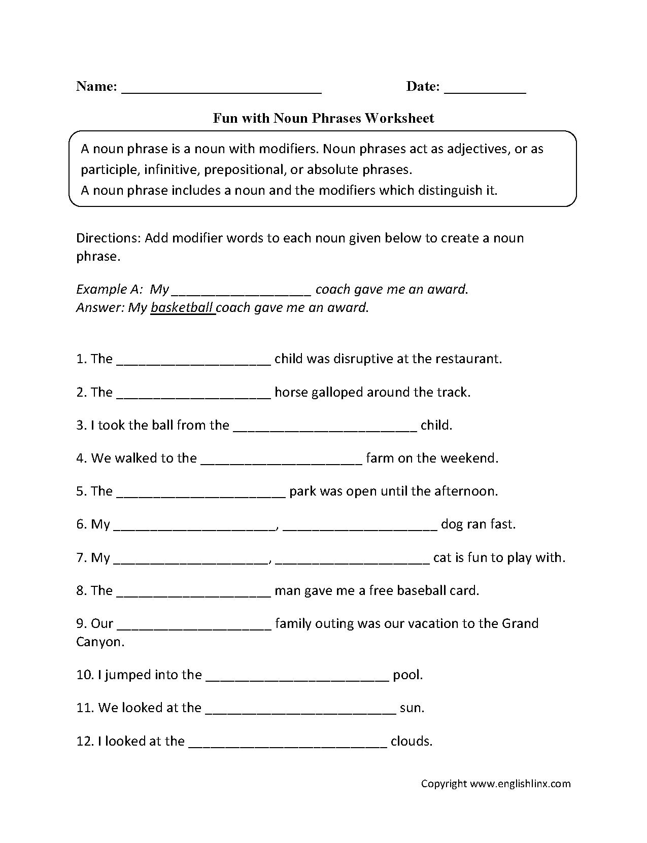 Fun With Noun Phrases Worksheets