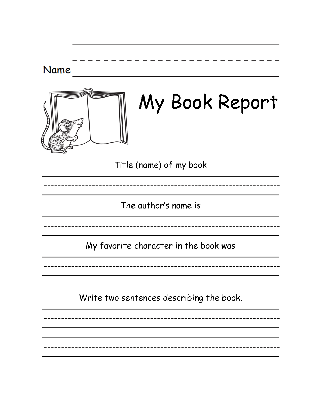2nd Grade Book Report Template