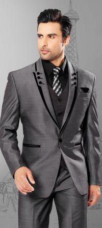 Full Black Tuxedo Men Suits Slim Fit Peaked Lapel Tuxedos ...