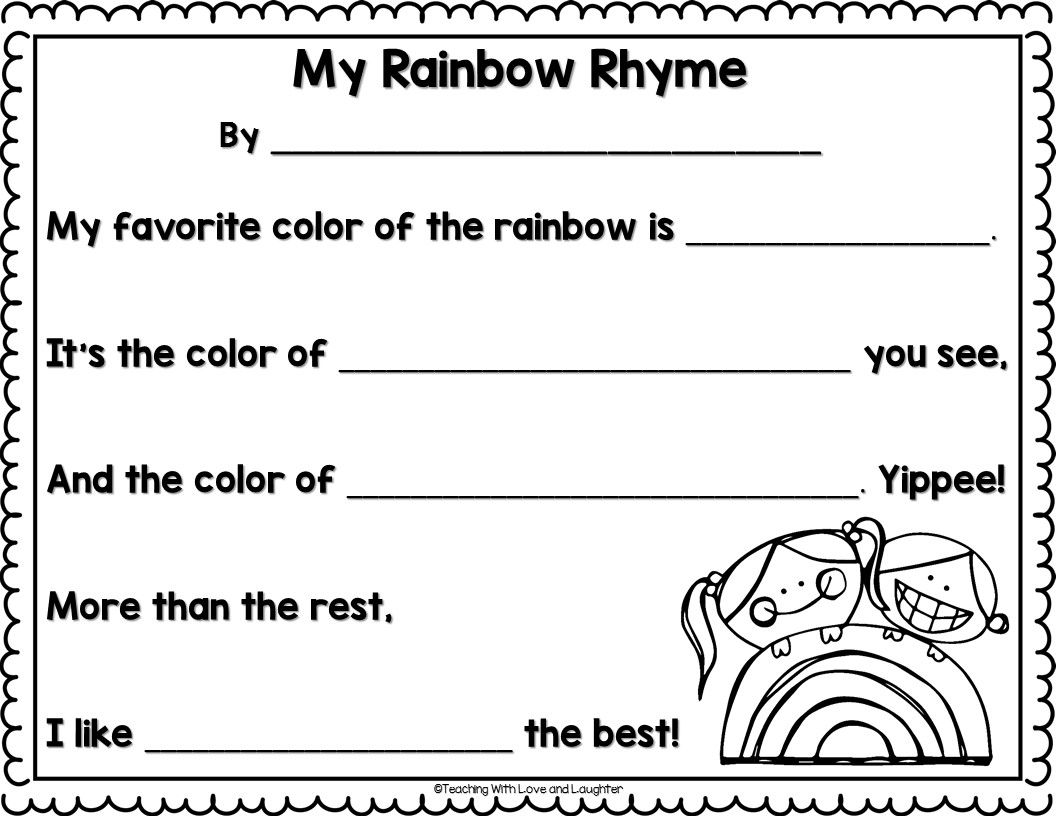 Free Rainbow Rhyme Writing Template For St Patrick S Day