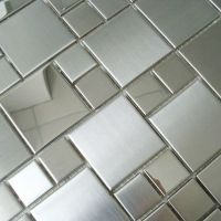 Mosaic tile mirror sheets square brushed 304 stainless ...