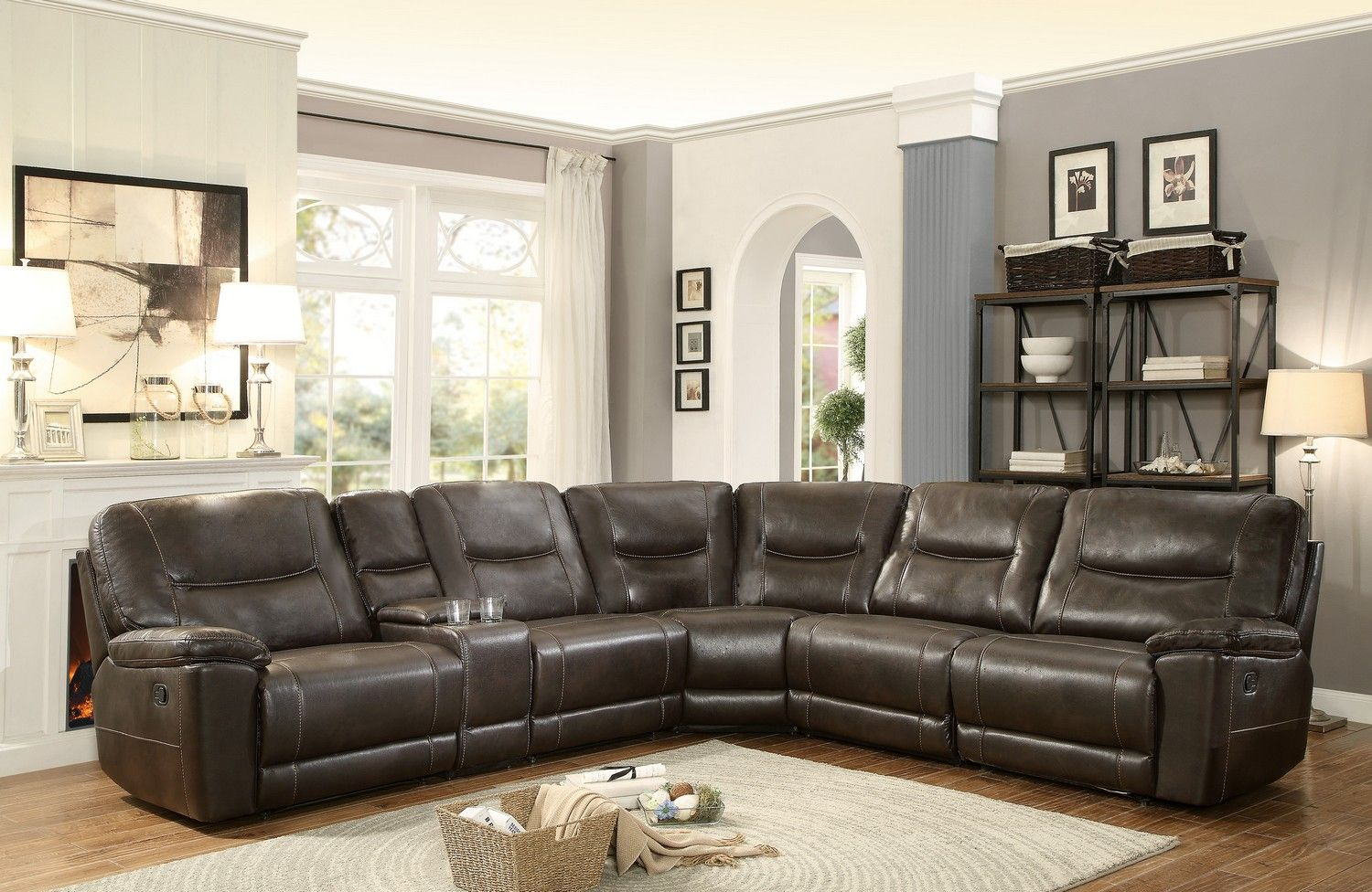 tosh furniture dark brown sofa set what size sheets fit a sleeper homelegance columbus reclining sectional d