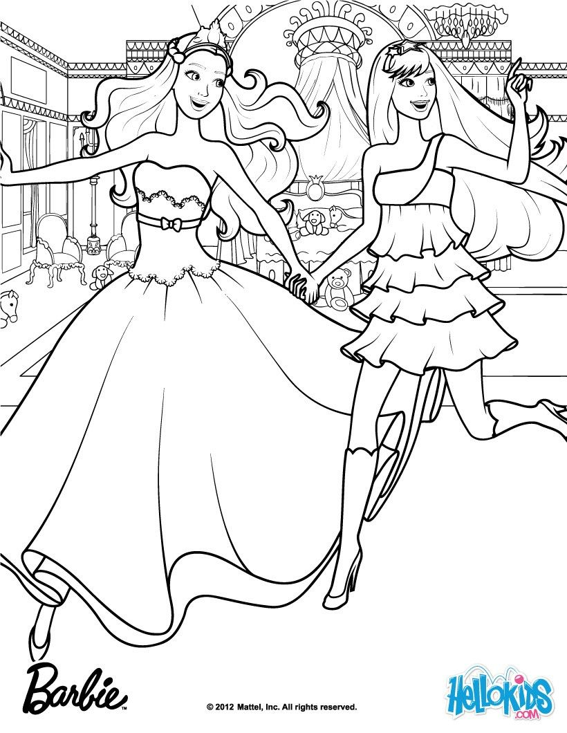 Princess Barbie Coloring Pages Barbie The Princess The Popstar L