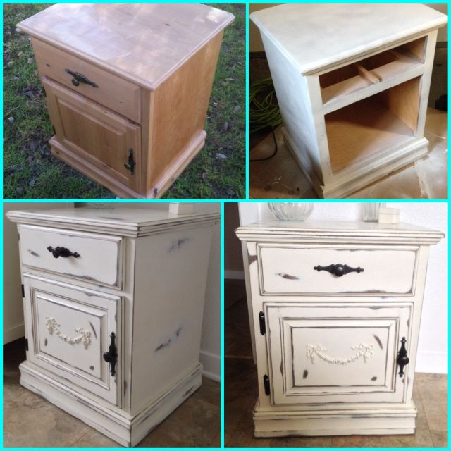 My DIY shabby chic nightstand Furniture makeover painted wood