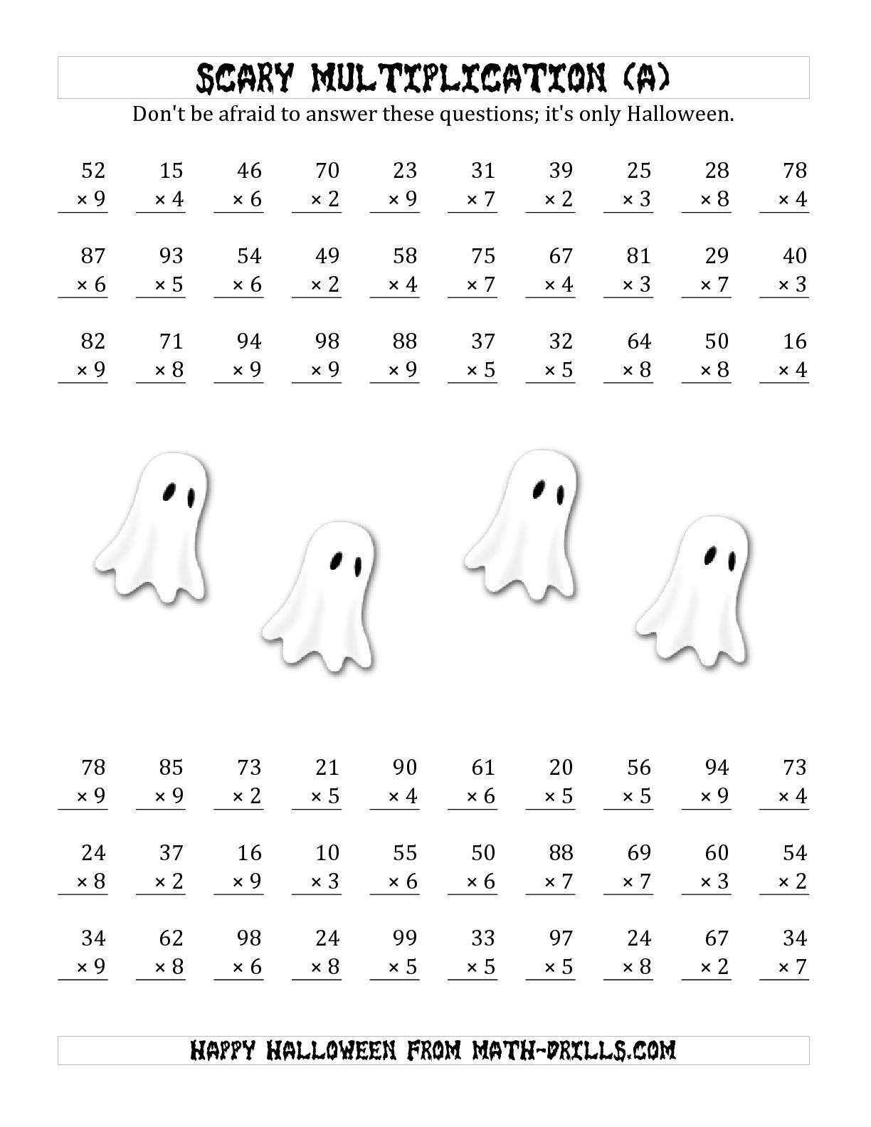The Scary Multiplication 2 Digit By 1 Digit All Math