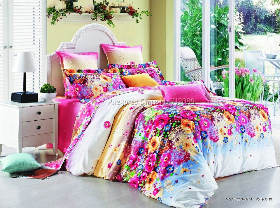 Stylish Colorful Flower Floral Pattern Pink 4pcs Full