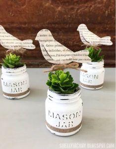 Decoart chalk paint mini mason jar planters fun and cute crafts also craft ideas planter jars rh pinterest