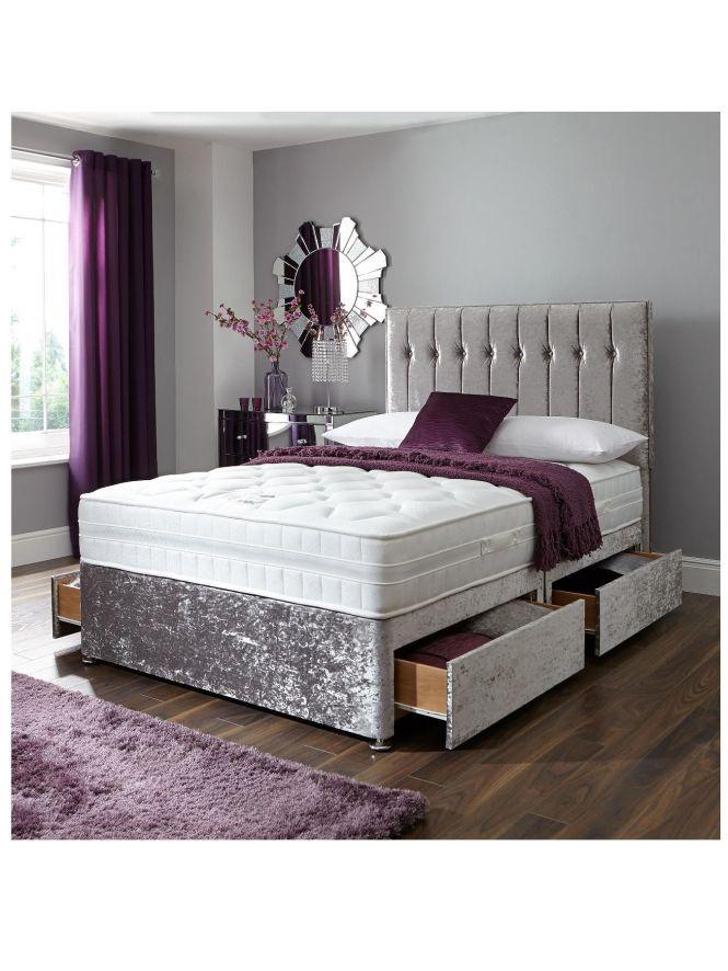 Sweet Dreams Sheba Cushed Velvet Divan Bed Includes Headboard