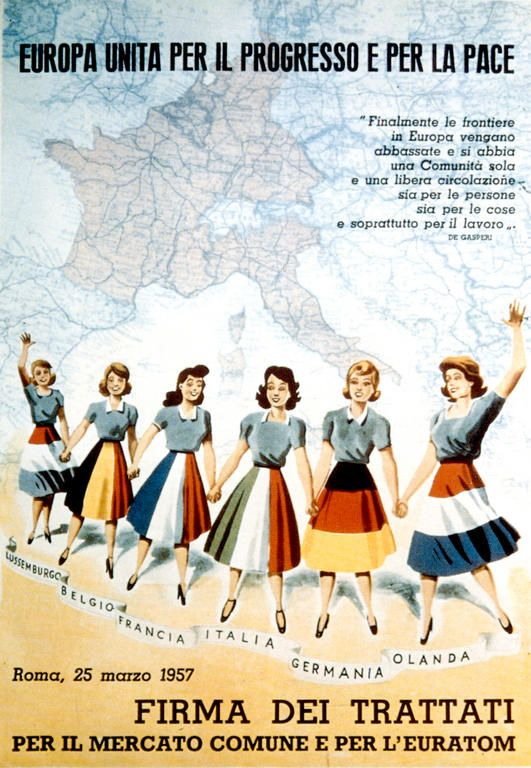 Resultado de imagen de affiche tratado de Roma 1957