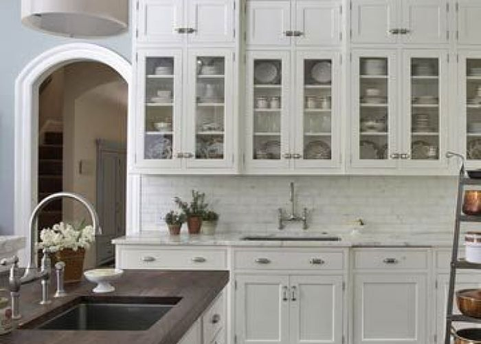 Source bhg dream kitchen design with white glass front cabinets marble tiles backsplash  counter tops gooseneck bridge faucets also future house pinterest walnut butcher block