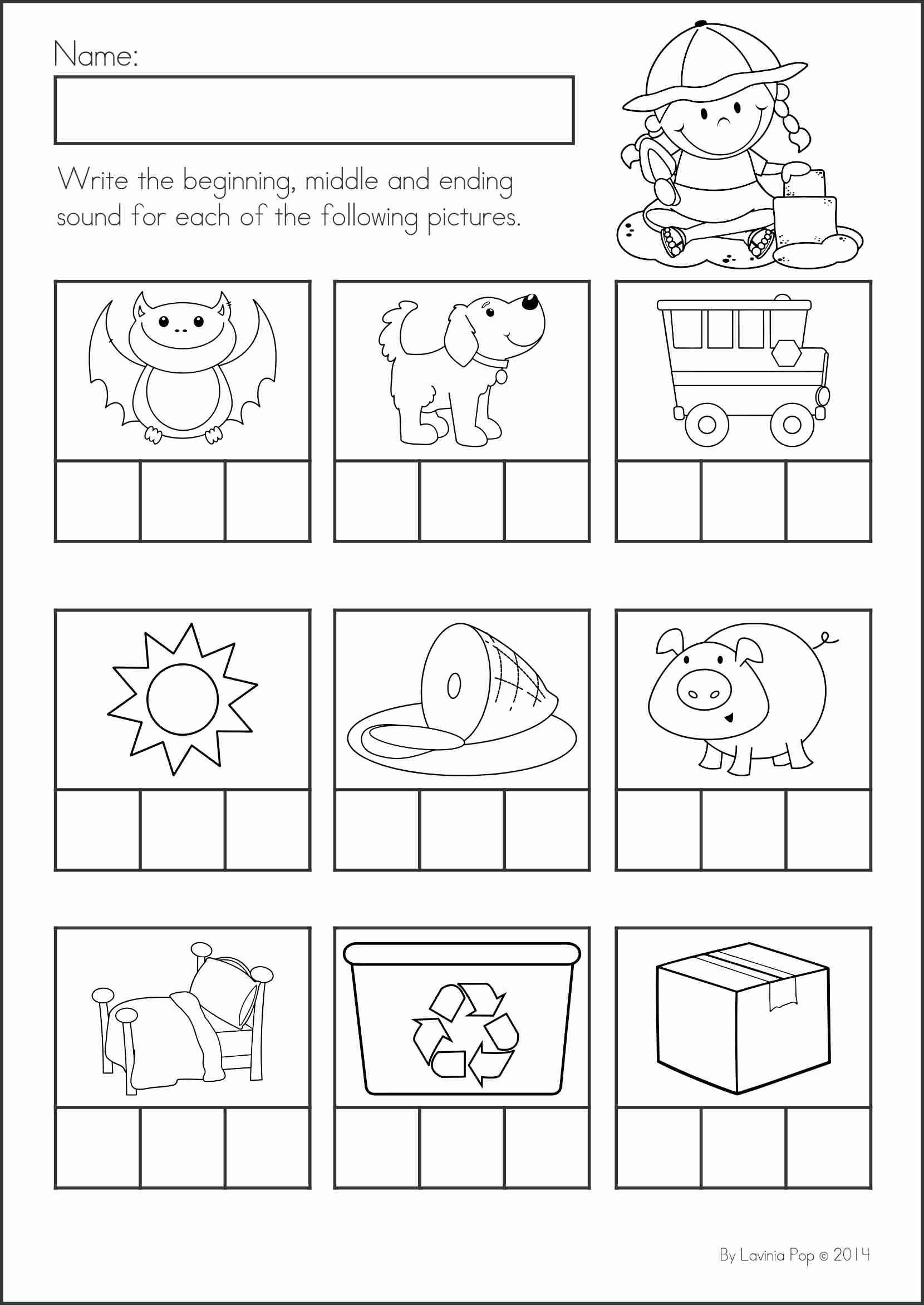 Free Kindergarten Worksheet Ending Sound