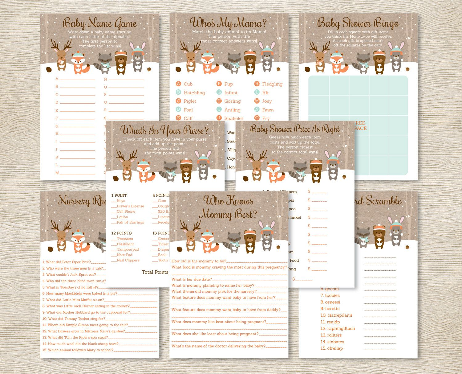 Woodland Animals Baby Shower Gt Gt Printable Games