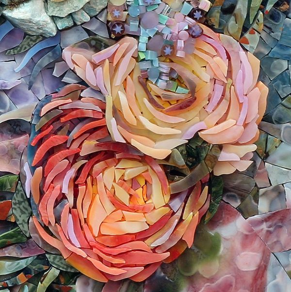 Joi Tripp Beautiful Floral Mosaic Grouting Craft Ideas Mosaique Vitraux