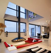 Sunken living room living room contemporary with open plan ...