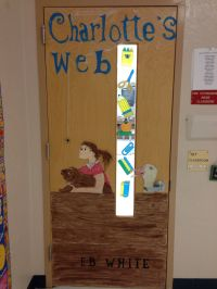 Teacher classroom door book craft decoration Charlottes's ...