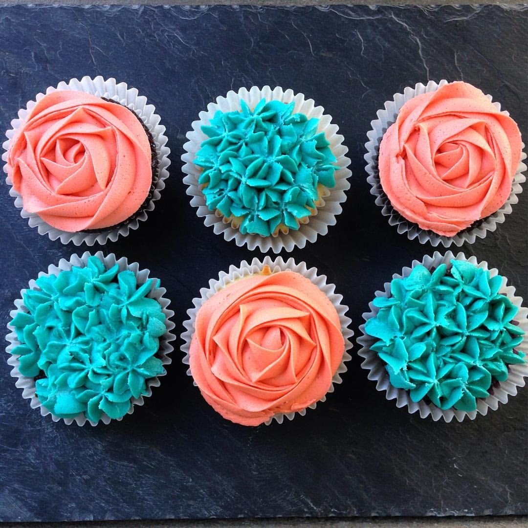 Coral and Turquoise Baby Shower Cupcakes cupcake