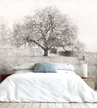 Misty Trees Wall Mural Black and White Wallpaper ...