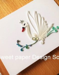 Paper quilling swan card for birthday by sweetpaperdesignsol also quillied beautiful flower bouquet wedding cardmothers day rh pinterest